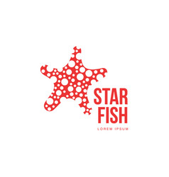 Graphic silhouette starfish logo template summer vector