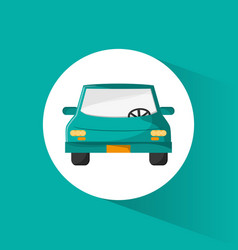 green car sedan vehicle trasnport vector image vector image