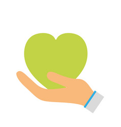 Green heart to love ecology symbol in the hand vector