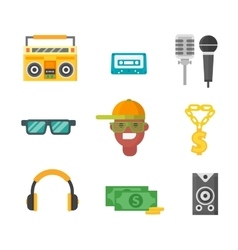 Hiphop music icons vector