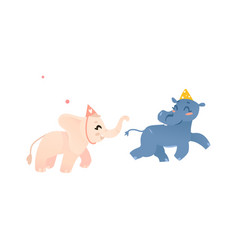 hippo and elephant in birthday hats play tag vector image vector image