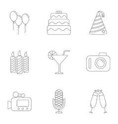 Holiday icons set outline style vector
