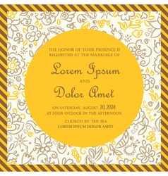 Invitation card yellow with hand drawn background vector