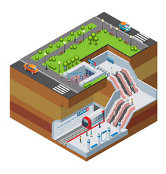 Isometric metro station concept vector