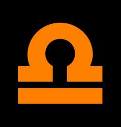 Libra sign orange icon on black vector
