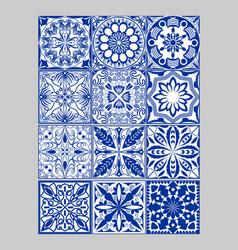 majolica pottery tiles mega set blue and white vector image vector image