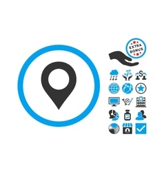Map Marker Flat Icon With Bonus vector image vector image