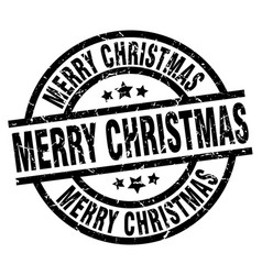 Merry christmas round grunge black stamp vector