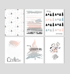 merry christmas set of card templates collection vector image