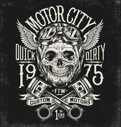 motorcycle skull with helmet vector image