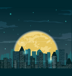 Night cityscape silhouettes with moon vector