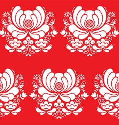 Norwegian folk art seamless white pattern on red vector image vector image