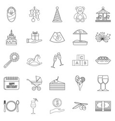 Party for children icons set outline style vector