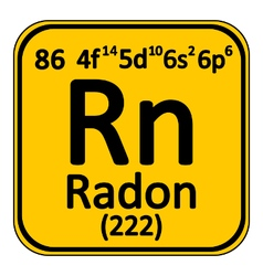 Periodic table element radon icon vector