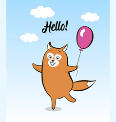 Postcard smiling cartoon joyful fox with balloon vector