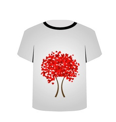 Printable tshirt graphic- heart tree vector
