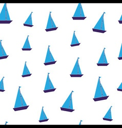Seamless blue toy boats vector
