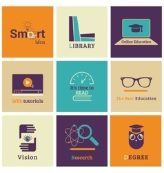 Set of flat education icons vector image vector image