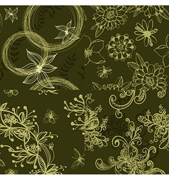 Set of green floral seamless patterns vector image vector image