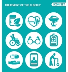 set of round icons white Treatment the elderly vector image