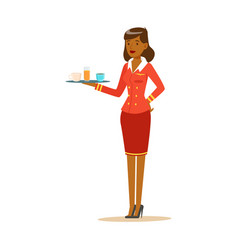 Smiling woman stewardess with tray of drinks vector