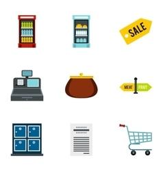 Supermarket icons set flat style vector