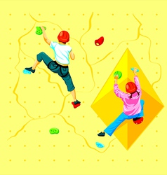 Wall climbing kids vector image