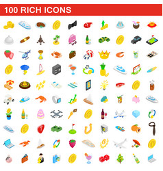 100 rich icons set isometric 3d style vector