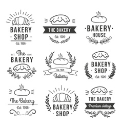 Hand drawn bakery label set vector