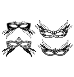 Veneto masquerade masks with lace luxury pattern vector