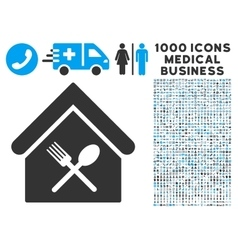 Food court icon with 1000 medical business vector