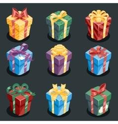 Gift box new year cartoon flat design icon set vector
