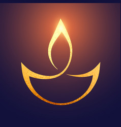 golden diwali artistic diya background vector image