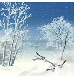 Winter atercolor landscape vector