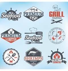 Set of seafood labels and signs vector