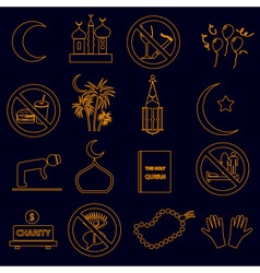 Ramadan islam holiday color outline icons set vector