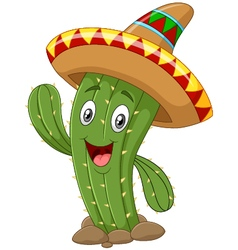Happy cactus waving hand on white background vector