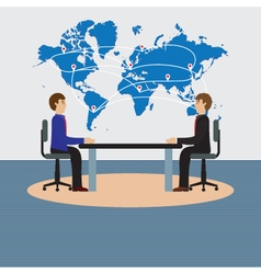 Businesspeople sitting at the table negotiations d vector