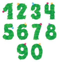 Numbers like Christmas tree with toys on the top vector image