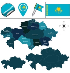 Kazakhstan map with named divisions vector