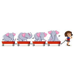 Little girl pulling carts loaded with elephant vector