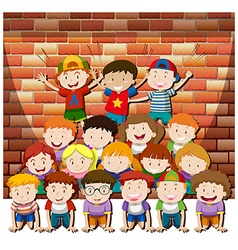 Children playing human pyramid together vector