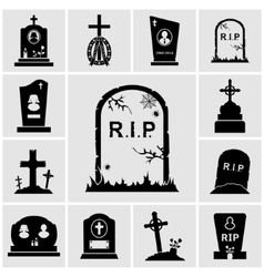 Gravestones icons set vector
