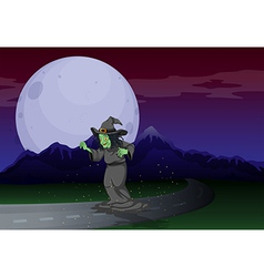 A witch at the road in the middle of the night vector