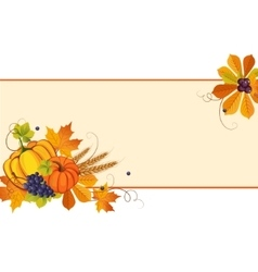 Autumn Banners with Ripe Vegetables Swirls and vector image