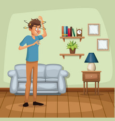 background living room home with dizziness and vector image