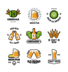 beer pub logos and emblems brewery and vector image vector image