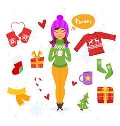 cartoon style set of holiday items vector image