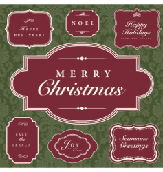Christmas frame and ornaments vector image vector image