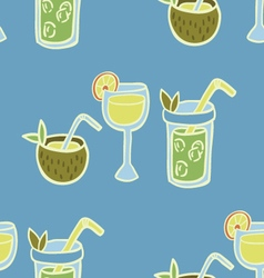 Cold Fresh Beach Drinks Seamless Pattern vector image